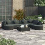 8-Tlg. Garten-Lounge-Set Mit Auflagen Poly Rattan Schwarz - ASUPERMALL