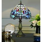 8 Zoll Blau Perle Libelle Pastoralen Antiken Luxus Stil Handgefertigten Glastisch Lampe Nachttischlampe Schlafzimmer Kinderlicht