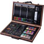 80-teilig Malkoffer Malset Malkasten Malbox Wasserfarbe Buntstifte Ölpastell-Kreiden Holz