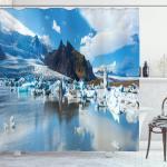Abakuhaus Duschvorhang »Moderner Digitaldruck mit 12 Haken auf Stoff Wasser Resistent« Breite 175 cm, Höhe 180 cm, Island Panorama-Foto Icebergs
