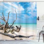 Abakuhaus Duschvorhang »Moderner Digitaldruck mit 12 Haken auf Stoff Wasser Resistent« Breite 175 cm, Höhe 180 cm, Landschaft Seascape Sandy Beach