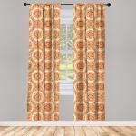 Abakuhaus Gardine »Fensterbehandlungen 2 Panel Set für Wohnzimmer Schlafzimmer Dekor«, Orange Victorian Barock Blätter