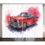 Abakuhaus Gardine »Schlafzimmer Kräuselband Vorhang mit Schlaufen und Haken«, Aquarell Vintage Retro-Auto, rot
