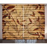 Abakuhaus Gardine »Schlafzimmer Kräuselband Vorhang mit Schlaufen und Haken«, Beige Bambus-Blätter Bohemian