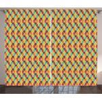 Abakuhaus Gardine »Schlafzimmer Kräuselband Vorhang mit Schlaufen und Haken«, Retro Abstrakt: Dreiecke Mosaik