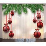 Abakuhaus Gardine »Schlafzimmer Kräuselband Vorhang mit Schlaufen und Haken«, Weihnachten Red Ball Ribbons