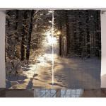 Abakuhaus Gardine »Schlafzimmer Kräuselband Vorhang mit Schlaufen und Haken«, Winter Weihnachten Schnee Wald