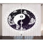 Abakuhaus Gardine »Schlafzimmer Kräuselband Vorhang mit Schlaufen und Haken«, Zen Ying Yang Boho Kunst
