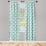 Abakuhaus Gardine »Vorhang für Wohnzimmer Schlafzimmer Dekor«, Elfenbein und Blau nostalgische Blumen
