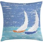 Abakuhaus Kissenbezug »Waschbar mit Reißverschluss Kissenhülle mit Farbfesten Klaren Farben Beidseitiger Druck«, Nautisch Grunge Segelboot-Ozean, blau