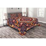 ABAKUHAUS Paisley Tagesdecke Set, Arabisch Blumenteppich, Set mit Kissenbezügen Ohne verblassen, für Doppelbetten 264 x 220 cm, FarbenFrohe