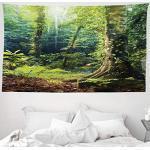 ABAKUHAUS Regenwald Wandteppich, Morning Sunbeam Through Wild Forest Efeu auf Bäumen Ruhe in der Natur Eco, aus Weiches Mikrofaser Stoff Wand Dekoration Für Schlafzimmer, 230 x 140 cm, Grün Braun