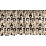 Abakuhaus Scheibengardine »Vorhang Volant für Küche Schlafzimmer Dekor mit Stangentasche«, Ethnisch Kleine Kokeshi Dolls, beige