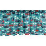 Abakuhaus Scheibengardine »Vorhang Volant für Küche Schlafzimmer Dekor mit Stangentasche«, Nautisch Lustige Schiffe und Segelboote