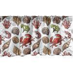 Abakuhaus Scheibengardine »Vorhang Volant für Küche Schlafzimmer Dekor mit Stangentasche«, Sea Shells Maritime Garnelen, bunt