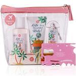 accentra Reiseset, Geschenkset Let's Travel für Frauen, Beauty mit PVC-Kulturtasche und Multi-Tool in pink, Pflegedusche, reinigendes Handgel für unterwegs und Handcreme