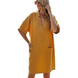 ACLOIN V-Ausschnitt Kleid Sommerkleid Damen Knielang Baumwolle Lose Kleider Umstandsmode Kleid (Gelb, S)