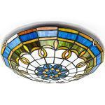 ACMHNC Tiffany Stil Deckenlampe Bunt,E27 Runde Deckenleuchte Küche Mit Barock Schirm Glasmalerei Deckenleuchte Vintage Glas Deckenbeleuchtung Für Wohnzimmer Schlafzimmer Badezimmer Beleuchtung,40CM