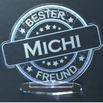 """Acryl-Button mit Namensgravur """"Bester Freund"""""""