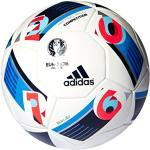 adidas Herren Ball EURO 2016 Kompetition, White/Bright Blue/Night Indigo, 5