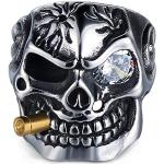 Adisaer Totenkopf Ring, Titan Männer Punk Mit Zigaretten Weiß Zirkonia Schädel Freundschaftsring Ring Silber Gr. 67 (21.3)