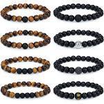 Adramata 6-8Pcs 8mm Tigerauge Armband für Männer Frauen Naturstein Armband Yoga Perlen Achat Elastische Armbänder Herren Armbänder Set Geburtstagsgeschenk für Männer