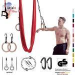 AerialX Aerial Yogatuch - Yoga Fitness Set Lemon | TÜV geprüfte Yoga Hängematte inkl. Turnringe und Deckenanker für Yoga Pilates und Gymnastik | Vertikaltuch Made in Germany