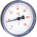 AFRISO Bimetall-Thermometer - Gehäuse ABS-Kunststoff schwarz (Ø 63 mm), 1/2'' x 40 mm, Skala 0-120 °C, ROT