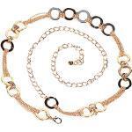 AiSi Damen Fashion Metall Gürtel Kettengürtel Taillengürtel Hüftgurt,Ideal für Kleid, elegantes Design (gold 2)