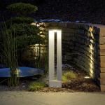 albert LED Pollerleuchte B: 21,5 H: 90 T: 8,5 cm, silber/opal weiß 692279, EEK: A+