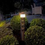 albert LED Pollerleuchte mit Steckdosen Ø 10 H: 58,5 cm, schwarz/satiniert 662202, EEK: A+