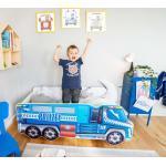 Alcube Autobett »Kinderbett 70x140 cm«, Spielbett mit Rausfallschutz inkl. Matratze und Lattenrost, blau, Lkw Polizei Blau