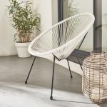 Alice's Garden - ACAPULCO eiförmiger Sessel - Weiß - 4-beiniger Sessel im Retro-Design, Kunststoffschnur, innen / außen