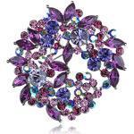 ALILANG Violet Lavendel Lila Kristall Strass Blumenkranz-Brosche