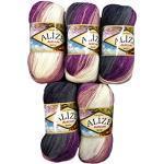 Alize Burcum Batik 5 x 100 Gramm Wolle Mehrfarbig mit Farbverlauf, 500 Gramm Strickwolle (lila Beere schwarz grau weiß 1986)