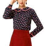 Dunkelblaue Langärmelige Color Blocking Allegra K Damenblusen für Partys