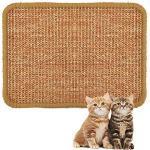 ALLOMN Katzenkratzmatte, 40 60cm Natur Sisal Kratzkatzenkissen Katzenkratzkrallen Rutschfestes Katzenkrallen Pflegespielzeug S/M/L/XL (XL : 40×60cm)