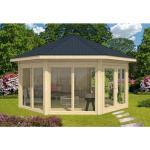 Alpholz - Gartenpavillon Modell Rügen mit vier Fenstern , mit Imprägnierung , Imprägnierung ab Werk:Farbe Pinie/Kiefer
