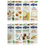 Alpro - 8er Probierset für Feinschmecker aus 8 verschiedenen pflanzlichen Drinks - Mandel ohne Zucker - Kokos ohne Zucker - Hafer ohne Zucker - Soja ohne Zucker - Haselnuss - Cashew - Reis - Vanille