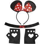 Amakando Maus Kostüm Disney Mäusekostüm 3 TLG. Minnie Mouse Kostümset Mauskostüm Set Karnevalskostüme Damen Tier Mottoparty Verkleidungsset Tierkostüm Mäuschen