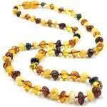 Amber Jewelry Shop Baltischer Bernsteinkette Halskette Kollier aus Natürlichem Polierte Bernstein Perlen (46cm) (Mehrfarbig)