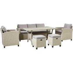Ambia Garden DINING-LOUNGESET Braun Kunststoffgeflecht, Polywood® Stahl, Metall, Kunststoff