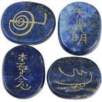 Amogeeli 4 Stück Reiki Symbole Graviert Usui Reiki Steine Set, Heilung Kristall Energie Taschensteine für Reiki Heilung Kristalltherapie (Lapislazuli)