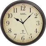 AMS 5962 Wanduhr Funkuhr Wand Vintage Uhr Style Metallgehäuse in antiker Holz-Optik Dekouhr