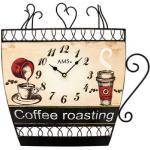 AMS 9533 Küchenuhr Wanduhr Küche Quarz analog braun Motiv Kaffeetasse Kaffee