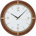 AMS Wanduhr 5832 Funkuhr, Ø 29 cm, Holz, braun