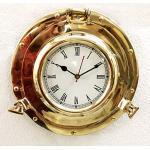 Analoge Uhr im antiken Marine-Stil, aus massivem Messing, Schiff, Bullauge, nautische Wanduhr, Heimdekoration