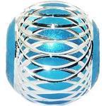 Andante-Stones Silber Bead Charm (Türkis-Blau) mit silberner Verzierung - Element Kugel für European Beads + Organzasäckchen