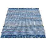 Andiamo Teppich »Frida«, rechteckig, Höhe 8 mm, Flickenteppich, reine Baumwolle, handgewebt, mit Fransen, Wohnzimmer, blau, blau