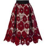 Andouy Damen Elegant Blumenspitze Party Rock Elastisch Hohe Taille Layerd Ausgestellte Röcke(3XL.Rot)